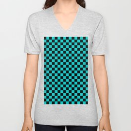 Black and Cyan Checkerboard Unisex V-Neck