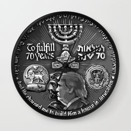 Trump Israel 70th Anniversary Temple Coin Art (Front Side) Wall Clock