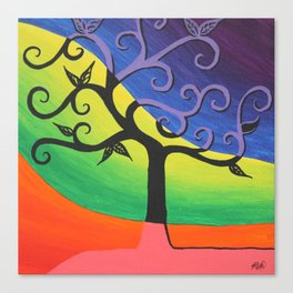 Abstract Tree Painting- Bright Artwork, Abstract Paintings, Colorful Home Decor, Funky Wall Art Canvas Print