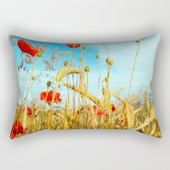 Lying in the cornfield, let your soul Rectangular Pillow