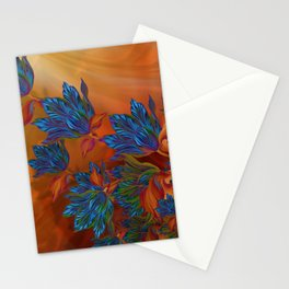 """Blue flowers on orange silk"" (Air Spring at night) Stationery Cards"
