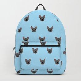 Black Frenchie Mouse Blue Brindle French Bulldog Print Pattern on Pastel Blue Background Backpack