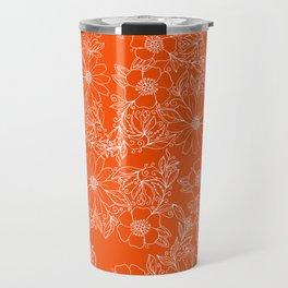 Hand drawn white bright orange modern floral Travel Mug