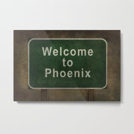 Welcome to Phoenix roadside sign illustration Metal Print