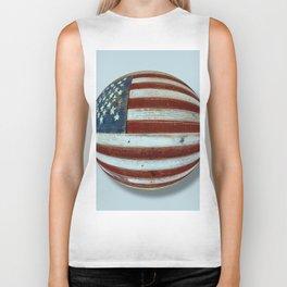 American Flag Wood Orb Biker Tank