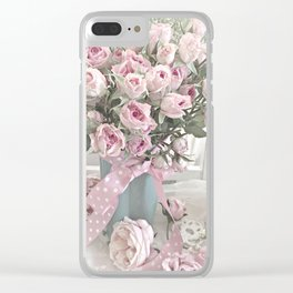 Pastel Roses In Vase - Shabby Chic Roses Pink Aqua Floral Print Home Decor Clear iPhone Case