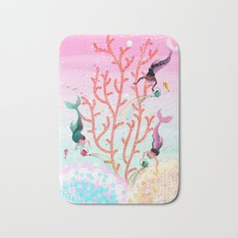 Mermaids' Coral Garden childrens' illustration Bath Mat