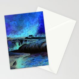 East Lyn river waterfall Stationery Cards