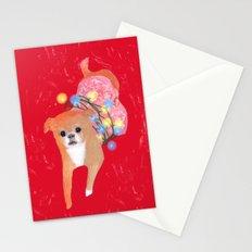 Dog in Pink Flower Dress Stationery Cards