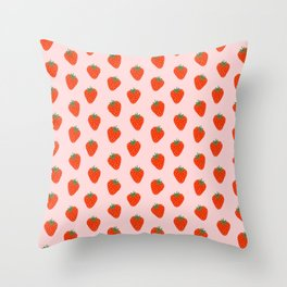 Strawberry pattern in pink background Throw Pillow