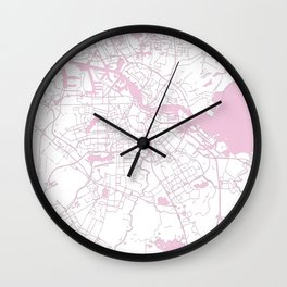Amsterdam White on Pink Street Map Wall Clock
