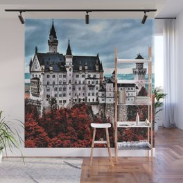 The Castle of Mad King Ludwig in the Autumn, Neuschwanstein Castle, Bavaria, Germany Wall Mural