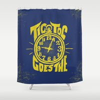 clock Shower Curtains featuring Clock by Charles Dew