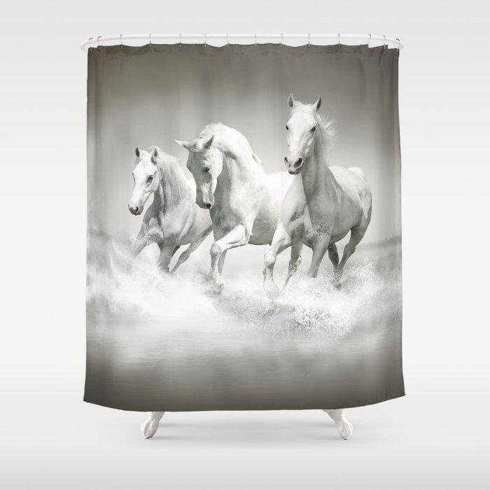 Wild White Horses Shower Curtain