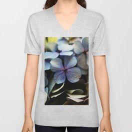 blue hydrangea flower macro Unisex V-Neck