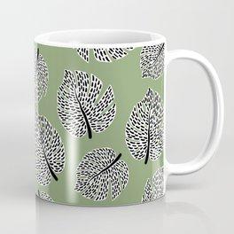 Abstract Monstera Leaf Pattern green Coffee Mug