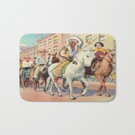 Vintage Western Town Rodeo Parade Bath Mat