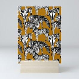 Zebra animals pattern,mustard background  Mini Art Print