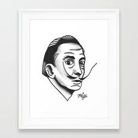 dali Framed Art Prints featuring Dali by @VEIGATATTOOER