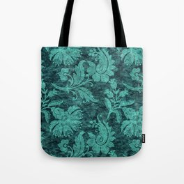 Burgundy Turquoise Velvet Floral Pattern 09 Tote Bag