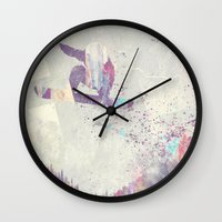 snowboard Wall Clocks featuring Explorers IV by HappyMelvin