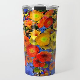 BLUE ABSTRACT OF POPPIES & YELLOW PETUNIA FLOWERS Travel Mug