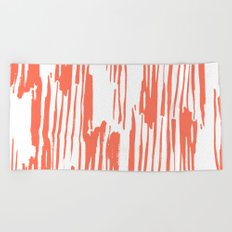 Bamboo Stripes White on Deep Coral Beach Towel
