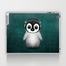 Cute Baby Penguin Dj Wearing Headphones on Blue Laptop & iPad Skin