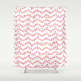Trendy girly pink gold chevron zigzag polka dots Shower Curtain