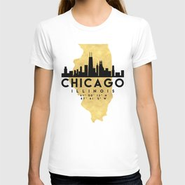 CHICAGO ILLINOIS SILHOUETTE SKYLINE MAP ART T-shirt