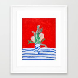 Protea Still Life in Red and Delft Blue Framed Art Print
