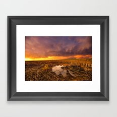 Lost In Time - Broken Windmill and Stormy Sky in Kansas Framed Art Print
