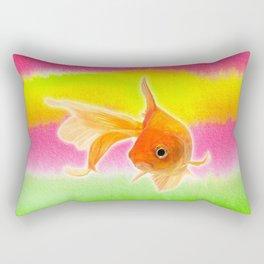 Goldfish & Colorful Watercolor Abstract Rectangular Pillow