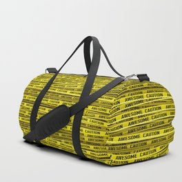 AWESOME, use caution / 3D render of awesome warning tape Duffle Bag