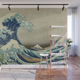 The Classic Japanese Great Wave off Kanagawa Print by Hokusai Wall Mural