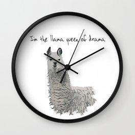 Llama Queen of Drama Wall Clock