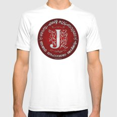 Joshua 24:15 - (Silver on Red) Monogram J White Mens Fitted Tee MEDIUM