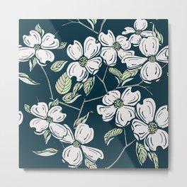 Dogwod Floral on Blue Grey Metal Print