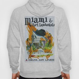 Vintage Fort Lauderdale - Miami, Florida Delta Airlines Advertisement Poster Hoody