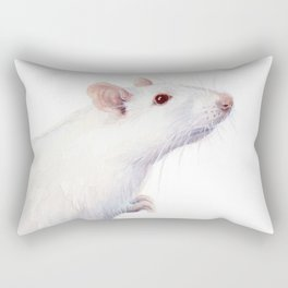 White Rat Watercolor Albino Rat Animal Rectangular Pillow