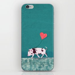 Baby Pig With Heart Balloon iPhone Skin