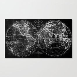 Black and White World Map (1795) Inverse Canvas Print