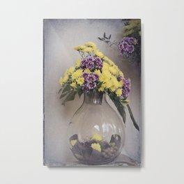 glass jar and flower Metal Print