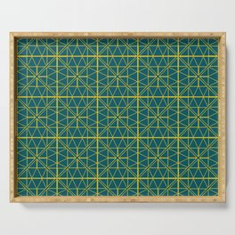 Emerald Green Triangles Pattern Serving Tray