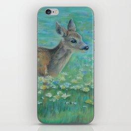Little Roe on the spring meadow Wildlife Deer Pastel drawing Fawn iPhone Skin