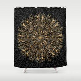 MANDALA IN BLACK AND GOLD Shower Curtain
