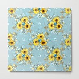Beautiful Blue & Yellow Sunflowers Metal Print