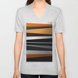 Metallic II - Abstract, geometric, metallic effect stripes, gold, silver, black Unisex V-Neck