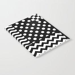 Mixed Patterns (Horizontal Stripes/Polka Dots/Wavy Stripes/Chevron/Checker) Notebook