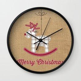 Christmas reindeer jute Wall Clock